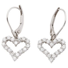 Tiffany & Co. Heart Diamond Platinum Earrings