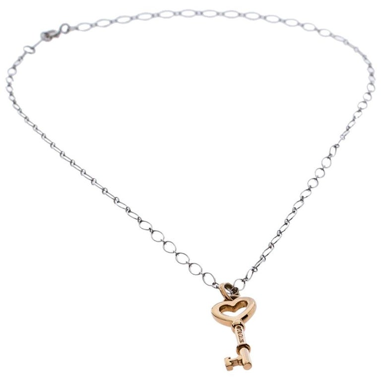 Tiffany And Co Heart Key 18k Rose Gold Mini Pendant And 18k White Gold Chain Neckla For Sale At 1stdibs