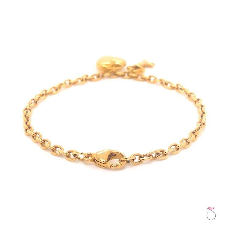 Tiffany & Co. Heart & Key Charm Bracelet in 18K Yellow Gold For Sale 1