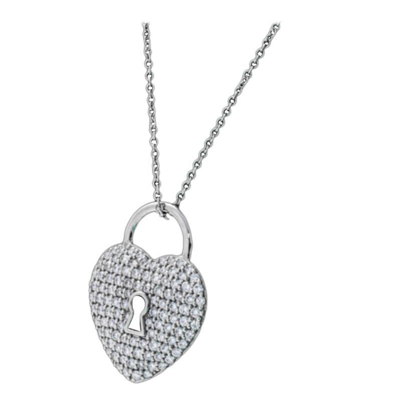 Tiffany & Co. Heart Lock Diamond Paved Platinum Pendant