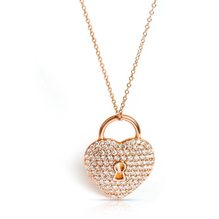 Women's Tiffany & Co. Heart Lock Diamond Pendant in 18 Karat Rose Gold 1.06 Carat For Sale