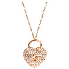 Tiffany & Co. Heart Lock Diamond Pendant in 18 Karat Rose Gold 1.06 Carat
