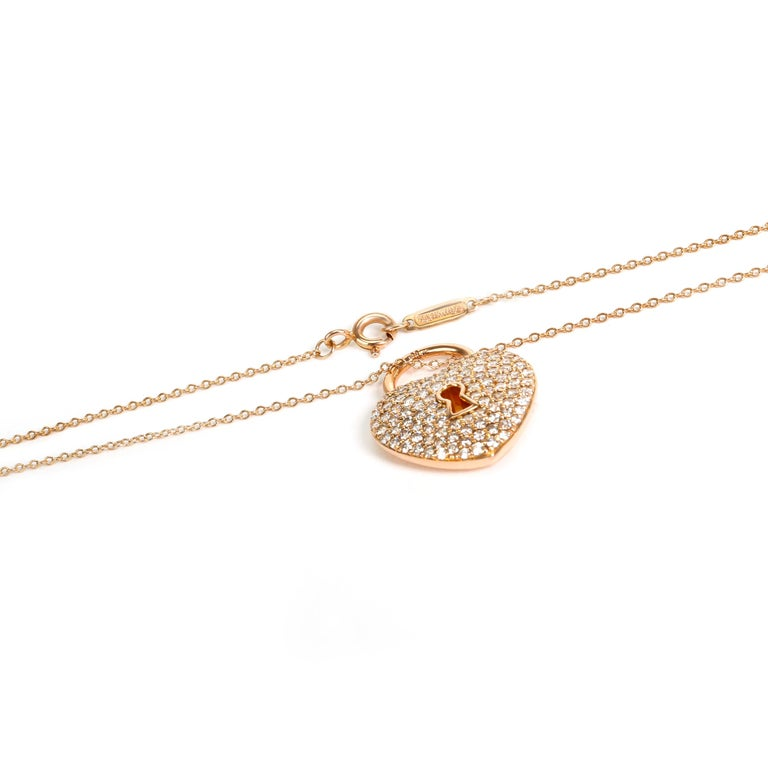 Tiffany & Co. Heart Lock Diamond Pendant in 18 Karat Rose Gold 1.06 Carat In Excellent Condition For Sale In New York, NY