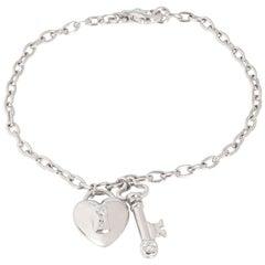 Tiffany & Co. Heart Locket Key Diamond Bracelet in Platinum 0.22 Carat