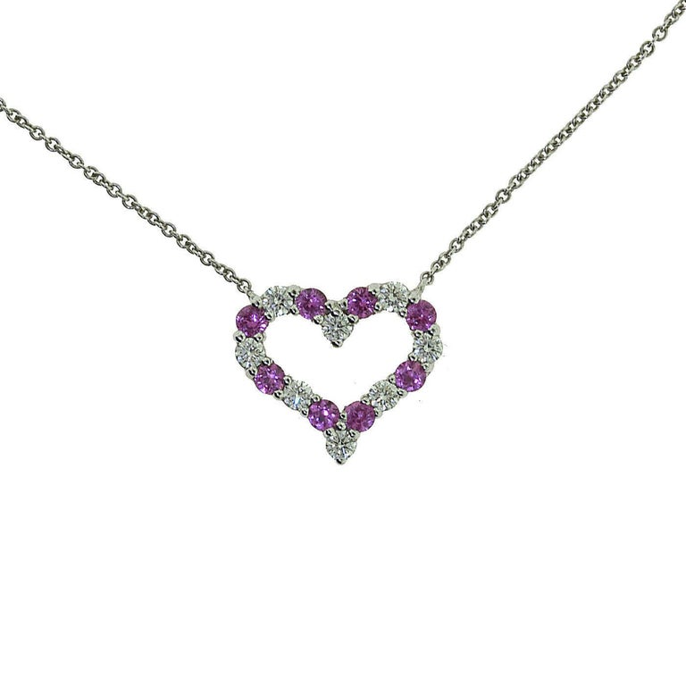 Tiffany And Co Heart Pendant With Pink Sapphires And Round Brilliant Diamonds For Sale At 1stdibs