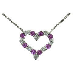 Tiffany & Co. Heart Pendant with Pink Sapphires and Round Brilliant Diamonds
