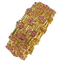 Tiffany & Co Heavy Gold and Rubies Set Wide Bracelet