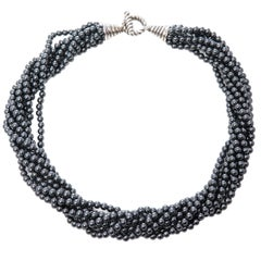 Tiffany & Co. Hematite Bead Torsade Necklace
