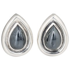 Tiffany & Co. Hematite Earrings circa 1995 Sterling Silver Paloma Picasso
