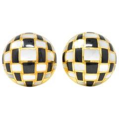 Tiffany & Co. Hong Kong Mother of Pearl Onyx 18 Karat Gold Ear-Clips Earrings
