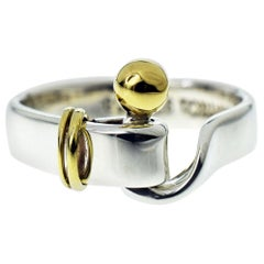 Tiffany & Co. Hook & Eye 925 Sterling Silver 18 Karat Yellow Gold Ring