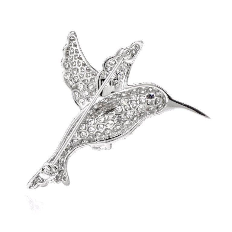 Tiffany & Co. Hummingbird Pavé Diamond Platinum Brooch Pin In Excellent Condition For Sale In Miami, FL