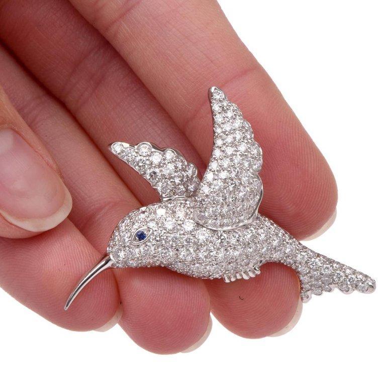 Tiffany & Co. Hummingbird Pavé Diamond Platinum Brooch Pin For Sale 2