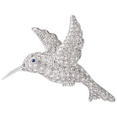 Tiffany & Co. Hummingbird Pavé Diamond Platinum Brooch Pin