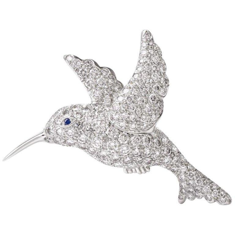 Tiffany & Co. Hummingbird Pavé Diamond Platinum Brooch Pin For Sale