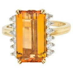 Tiffany & Co. Imperial Topaz Diamond 18 Karat Gold Platinum Gemstone Ring