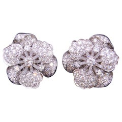 Tiffany & Co., Important Pair of Platinum, Diamond Flowerhead Earrings