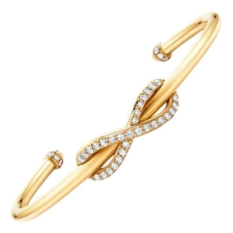 Tiffany & Co. Infinity 18k Rose Gold Cuff Bracelet 'Medium Size' For Sale