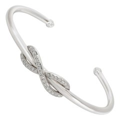 Tiffany & Co. Infinity Diamond Cuff in 18 Karat White Gold 0.39 Carat
