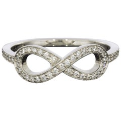Tiffany & Co Infinity Platinum 0.13 Carat Round Diamond Band Ladies Fashion Ring