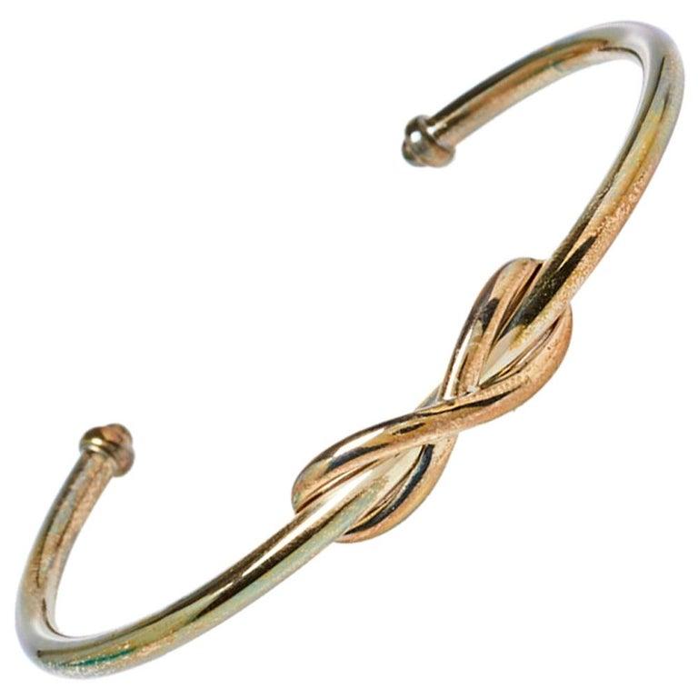Tiffany & Co. Infinity Sterling Silver Open Cuff Bracelet For Sale