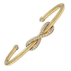 Tiffany & Co. 'Infinity' Yellow Gold and Diamond Cuff Bracelet