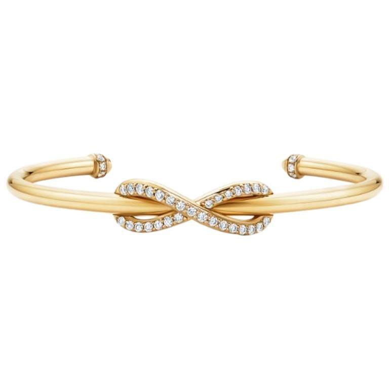 Tiffany & Co. Infinity Yellow Gold Diamond Cuff Medium Size For Sale