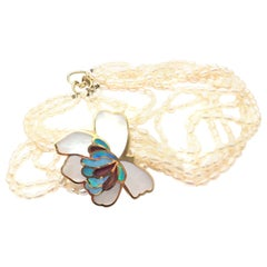 Tiffany & Co. Inlaid Mother of Pearl Opal Flower Yellow Gold Pendant Necklace