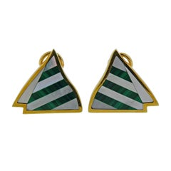 Tiffany & Co Inlay Malachite Mother of Pearl Gold Earrings