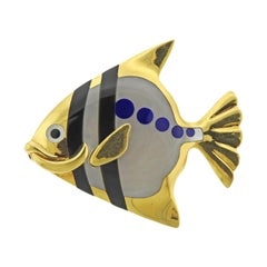Tiffany & Co. Inly Lapis Mother of Pearl Onyx Gold Fish Brooch