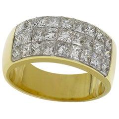 Tiffany & Co Invisible Setting Princess Cut Diamond 18 Karat Yellow Gold Ring