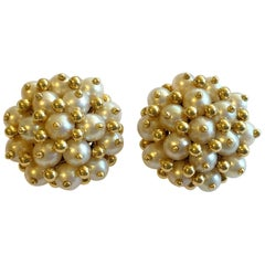 Tiffany & Co. Italy 18 Karat Gold and Pearl Clip-On Earrings circa 1960s Vintage