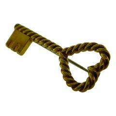 Tiffany & Co. Italy 18 Karat Yellow Gold Key to My Heart Brooch /Pendant Vintage