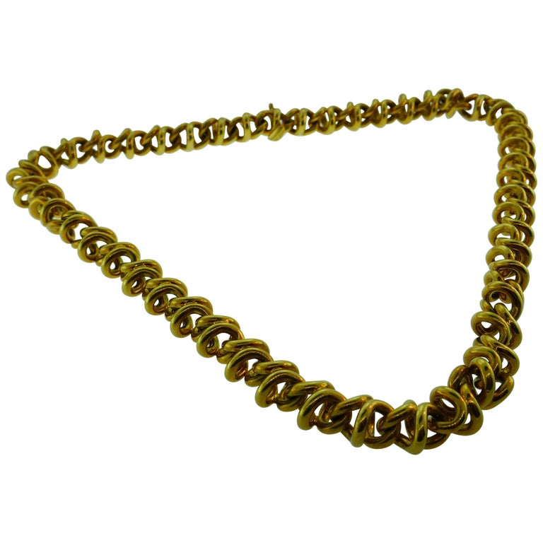 Tiffany & Co. Italy 18 Karat Yellow Gold Link Necklace Vintage For Sale