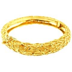 Tiffany & Co. Italy 18 Karat Yellow Gold Modernist Bangle