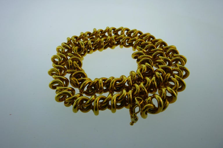 Tiffany & Co. Italy 18 Karat Yellow Gold Link Necklace Vintage For Sale 3