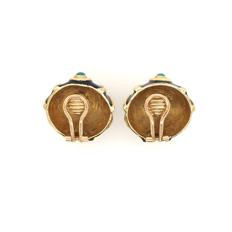 Cabochon Tiffany & Co., Italy Enamel, Turquoise and Gold Earrings For Sale