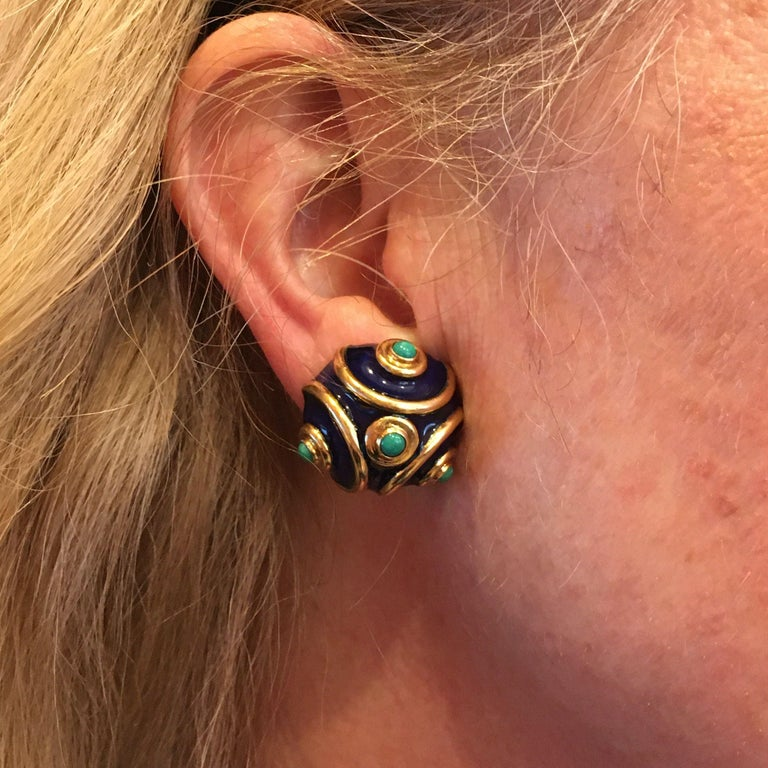 Tiffany & Co., Italy Enamel, Turquoise and Gold Earrings In Good Condition For Sale In New York, NY