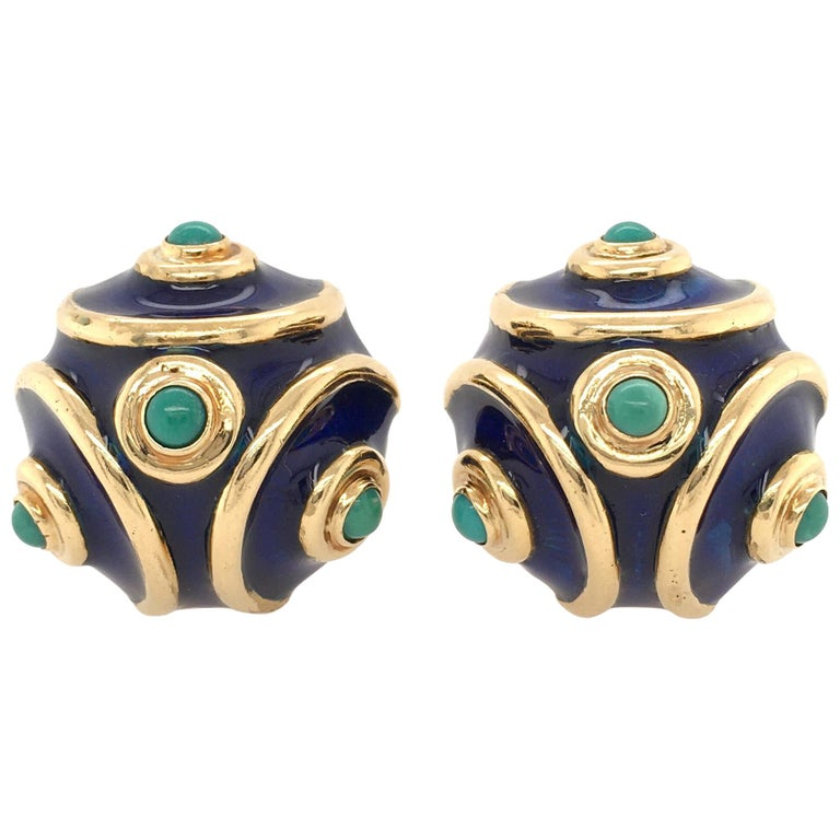 Tiffany & Co., Italy Enamel, Turquoise and Gold Earrings For Sale