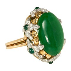Tiffany & Co. Jade Cocktail Ring in a Gold, Diamond, and Emerald Florette Mount