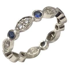 Tiffany & Co. Jazz Collection Platinum Diamond Sapphire Band Ring