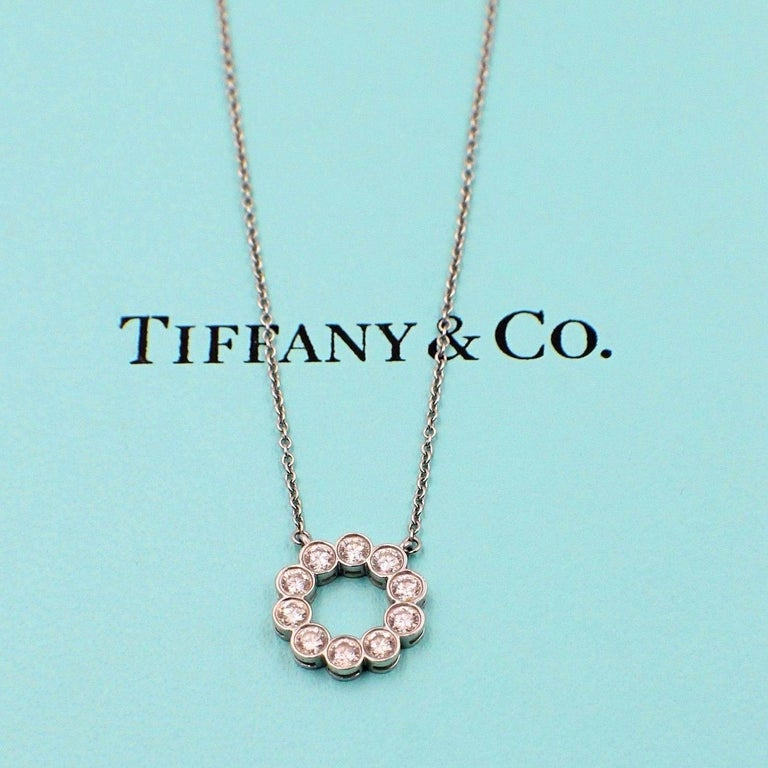 Tiffany & Co. Jazz Round 0.90 Carat Diamond and Platinum Circle Pendant Necklace In Excellent Condition For Sale In San Diego, CA