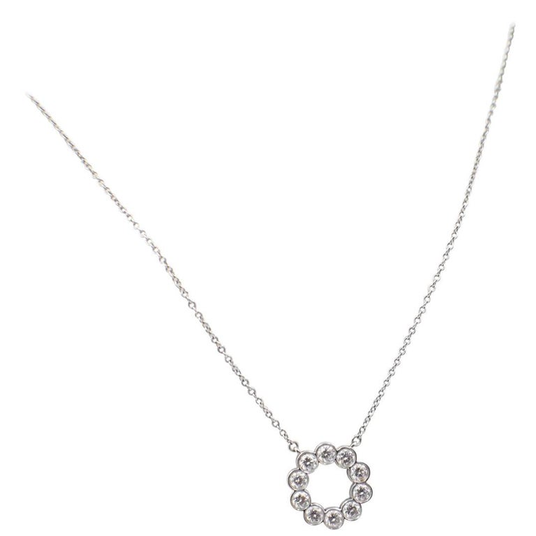 ea155118be6a7 Tiffany & Co. Jazz Round 0.90 Carat Diamond and Platinum Circle Pendant  Necklace