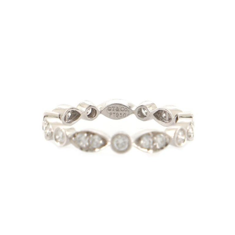 Tiffany & Co. Jazz Swing Ring Platinum with Diamonds In Good Condition For Sale In New York, NY
