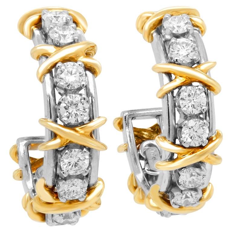 Tiffany & Co. Jean Schlumberger 18 Karat Gold Platinum Diamond X Hoop Earrings For Sale