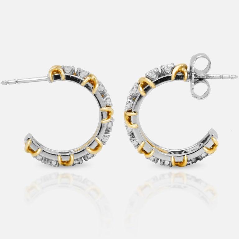 Contemporary Tiffany & Co. Jean Schlumberger 18 Karat Gold Platinum Diamond X Hoop Earrings For Sale