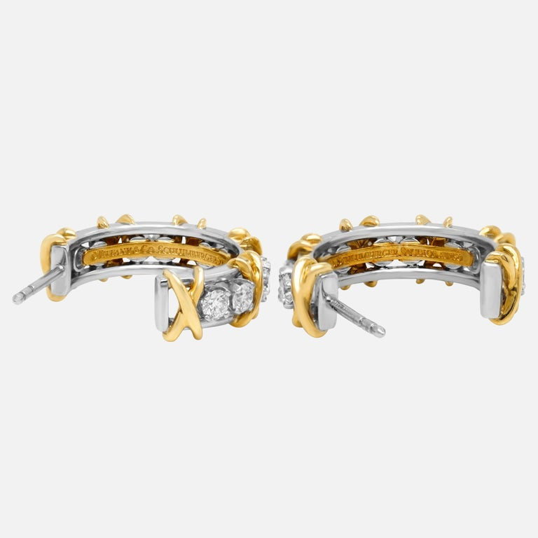 Round Cut Tiffany & Co. Jean Schlumberger 18 Karat Gold Platinum Diamond X Hoop Earrings For Sale