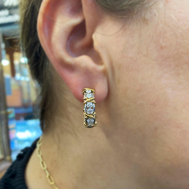 Tiffany & Co. Jean Schlumberger 18 Karat Gold Platinum Diamond X Hoop Earrings In Excellent Condition For Sale In Boca Raton, FL