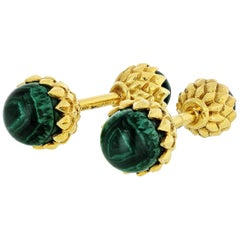 Tiffany & Co. Jean Schlumberger 18k Yellow Gold and Malachite Acorn Cufflinks