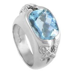 Tiffany & Co. Jean Schlumberger Aquamarine and White Diamond Platinum Ring